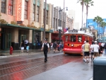 Red Car Trolley coming from Hollywood in California Adventure